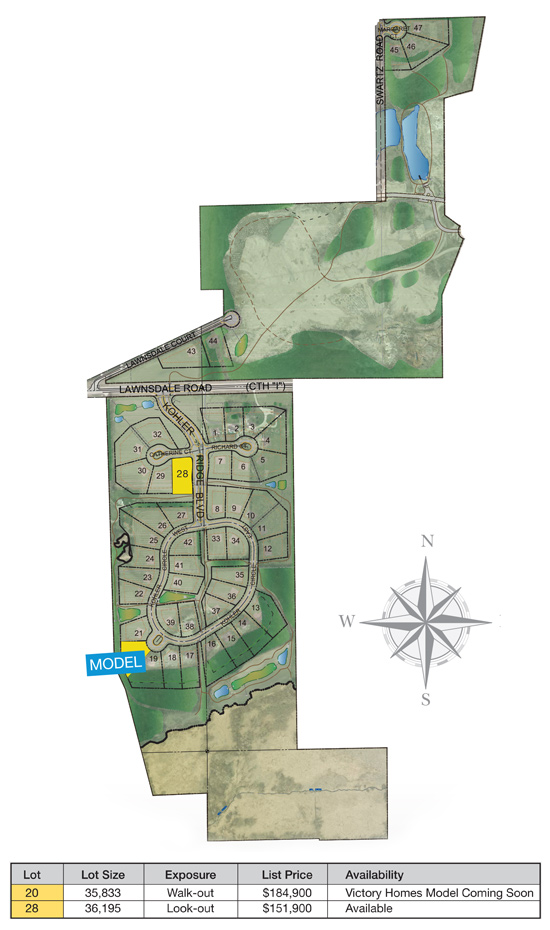 Kohler Ridge Subdivision - City of New Berlin - land for sale - Allan Builders
