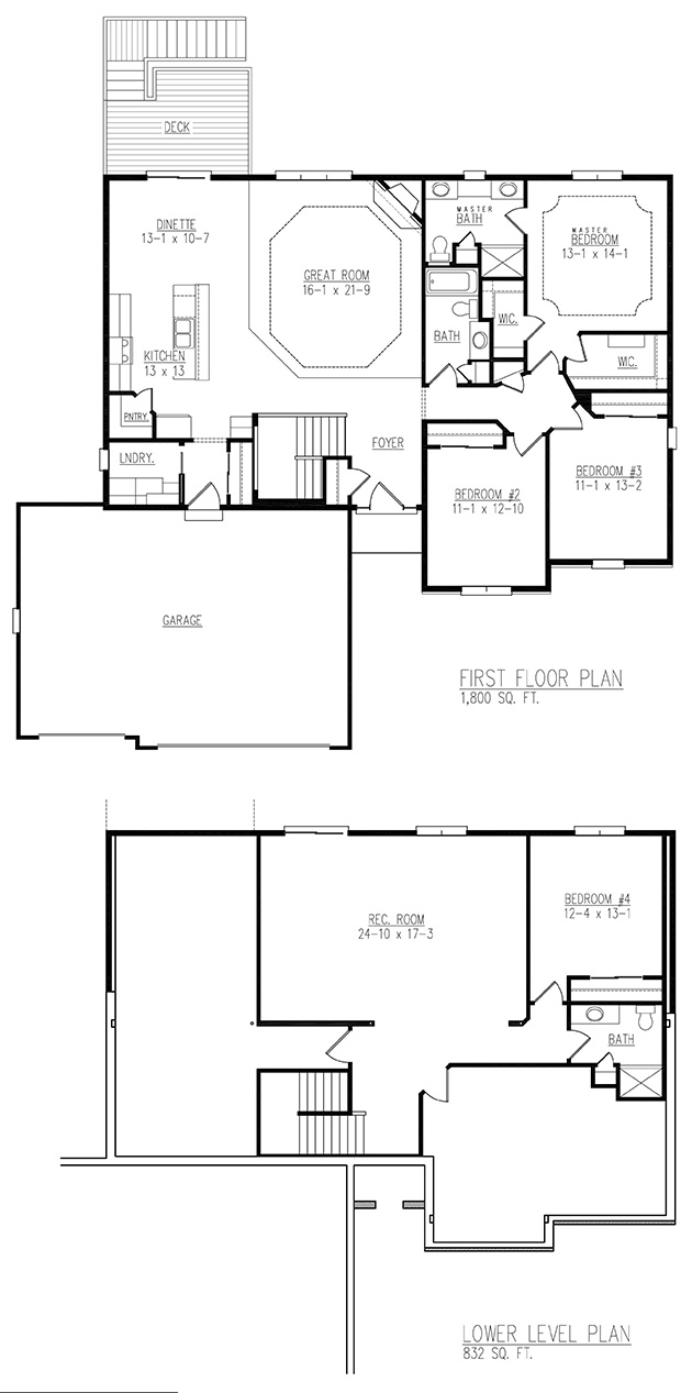 Sinclaire Model floor plan - By Allan Builders - Affordable Home Builders - Milwaukee, Wisconsin
